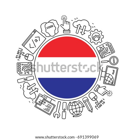 Internet technology and programming in Netherlands round shape background with linear icons set. Html, php and code circle pattern with line style icons with Netherlands flag.