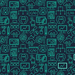 Internet technology and programming seamless background with linear icons set. Html, php and code seamless pattern with line style icons on black.