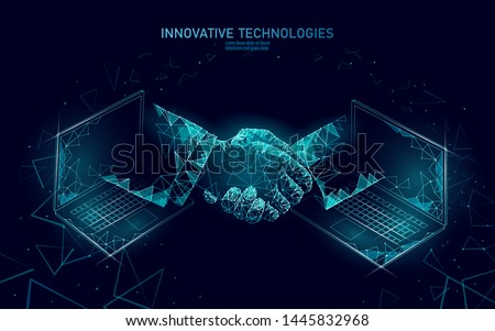 Internet technology 3D businessman handshake. Business finance agreement contract concept. Success web network low poly banner. Polygonal international internet connection laptop vector illustration