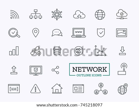 Internet thin line icons. Vector outline design symbols for web. Network elements set