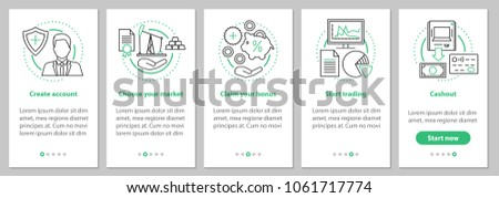 Internet trading onboarding mobile app page screen with linear concepts. Online business graphic instructions. UX, UI, GUI vector template with illustrations