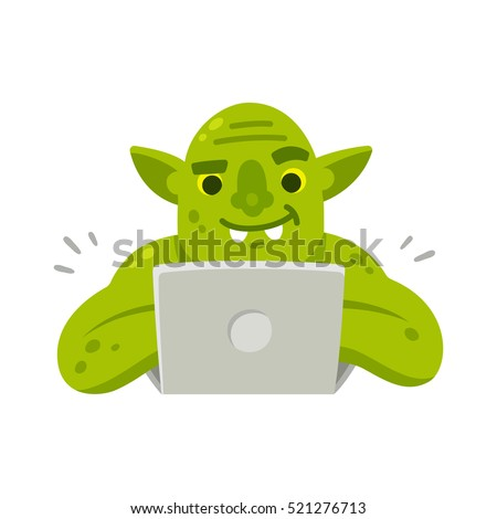 internet troll with computer