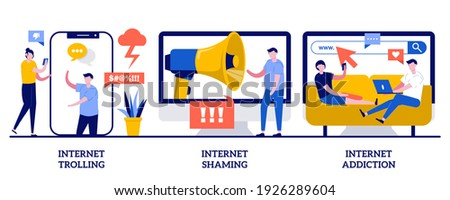 Internet trolling, shaming and addiction concept with tiny people. Social media behavior abstract vector illustration set. Digital harassment, stalking and bullying, emotional message metaphor. Stock photo ©