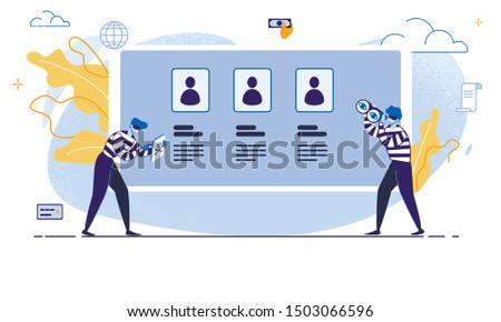 Internet User Personal Data Protection and Safety, Financial Fraudulent Online, Hacker Attack Trendy Flat Vector Concept with Criminal in Mask Using Computer Virus to Steal Data or Money Illustration Stock photo ©
