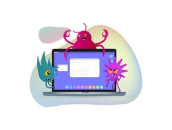 Internet viruses have attack of computer. Cyber crime vector illustration. Viral cartoon characters on laptop screen