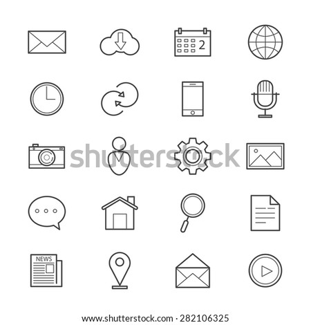 Internet Web and Mobile Icons Line #282106325