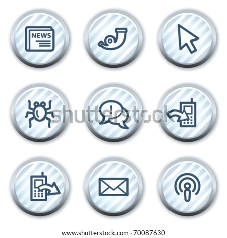Internet web icons set 2, stripped light blue circle buttons