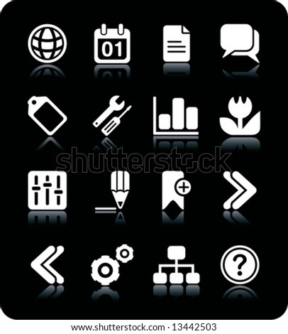 Internet Web icons with reflections. Black & white series PART 2 - stock vector
