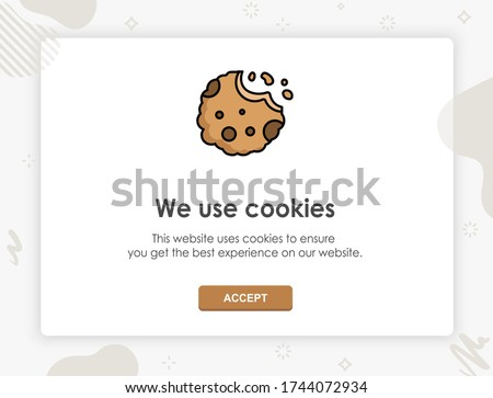 Internet web pop up for cookie policy notification. This website uses cookies. Flat design modern vector illustration concept. Сток-фото ©