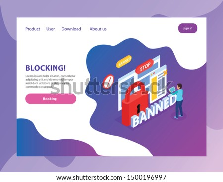 Internet website blocking abusive users  isometric landing page with banned stop lock prohibition signs symbols vector illustration