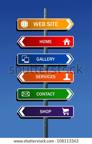 Internet website structure road post scheme. Vector file layered for easy manipulation and custom coloring.