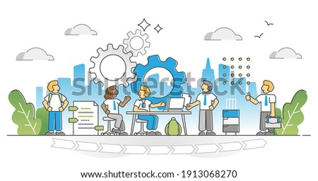 Internship as job career training and skill practice process outline concept. Personal development from student to expert with learning and experience improvement vector illustration. Work performance Stock photo ©