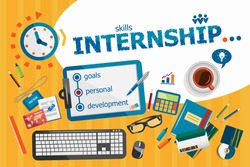 Internship design concept. Typographic poster. Internship concepts for web banner and printed materials.