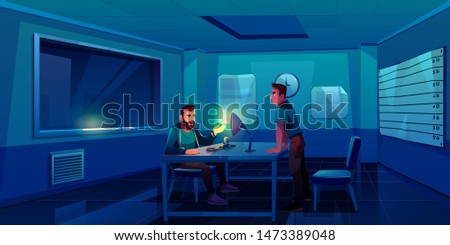 Interrogation of criminal in police station, policeman interviewing suspect man sitting in dark room with handcuffs on table, lamp glowing into face and window, testify. Cartoon vector illustration