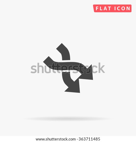 Intersection arrow Icon Vector. Simple flat symbol. Illustration pictogram