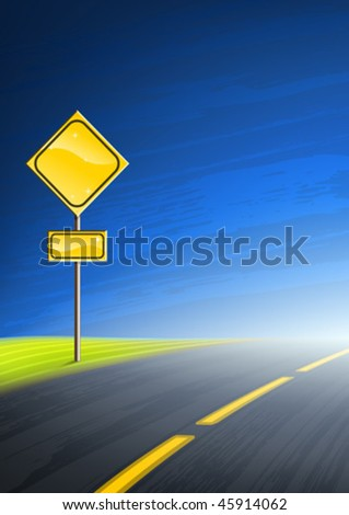 Interstate highway and an empty yellow road sign with space for text