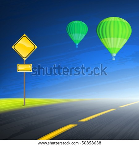 Interstate highway, empty yellow road sign and two green hot air balloons