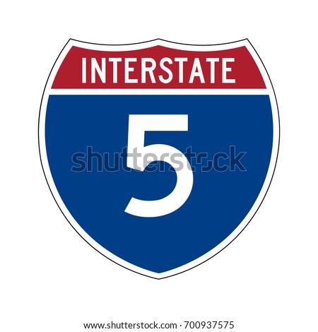Interstate highway 5 road sign.