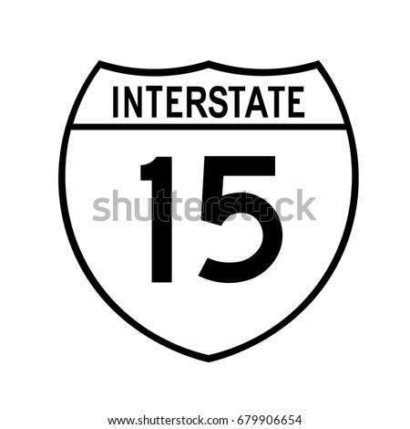Interstate highway 15 road sign,  A white version