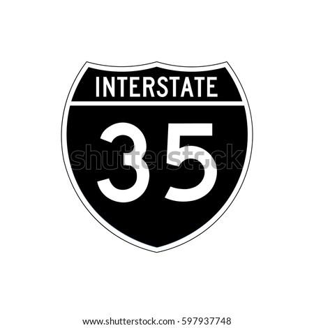 Interstate highway 35 road sign, black variant