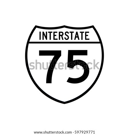 Interstate highway 75 road sign, filled with white paint
