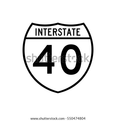 Interstate highway 40 road sign, in white