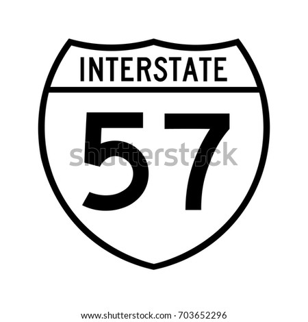Interstate highway 57 road sign. The white variant of the sign