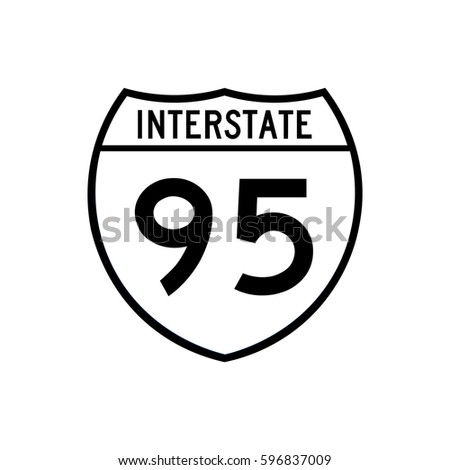 Interstate highway 95 road sign. White and black variant