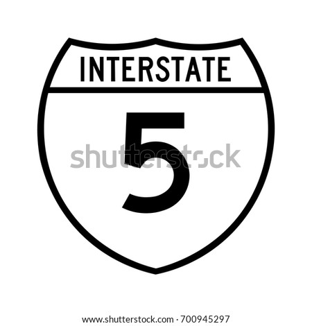 Interstate highway 5 road sign. White variant of the sign.