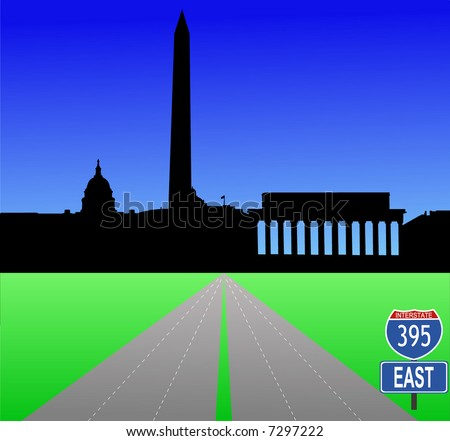 Interstate 395 leading to Washington DC skyline with Capitol building and Washington and Lincoln Monument in separate layers