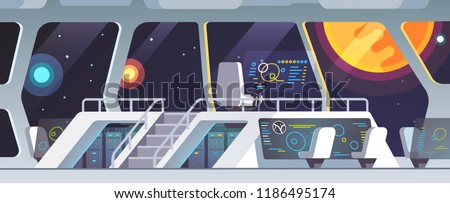 Interstellar spaceship main bridge interior big window view at nearby star. Inside science fiction intergalactic space ship deck with transparent touch screens and crew chairs. Flat vector illustratio