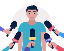 Interview concept. Man with microphones. Popular person, presenter, celebrity, political gives comments and opinions for breaking news, reportage, tv program. Vector illustration in a flat style