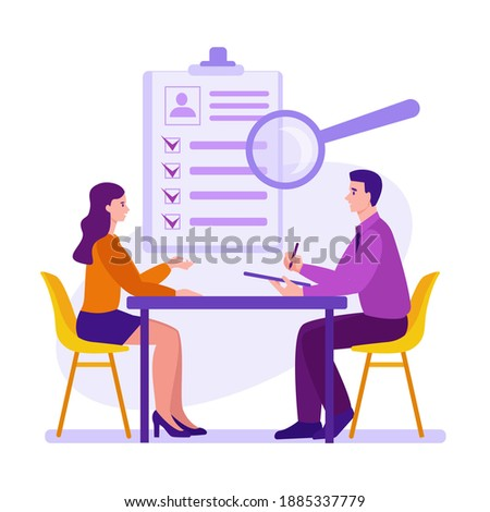 Interview, employment process, candidate selection. Recruitment and placement service. Recruiting agency and headhunting company. Vector concept in flat cartoon style. Сток-фото ©