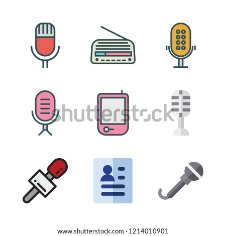 interview icon set. vector set about radio, curriculum and microphone icons set.