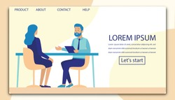 Interview, Negotiation, Meeting Flat Landing Page Mockup. Cartoon Man and Woman Characters Having Business Conversation. HR Manager and Job Seeker Sitting at Office Table. Vector Illustration