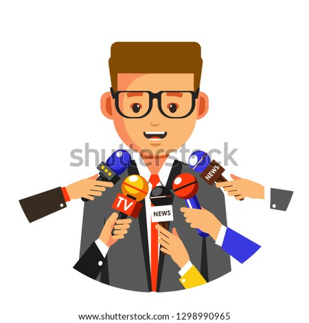 Interview or TV press conference news reportage vector man speaking in microphones speaker public person communication paparazzi and mass media services journalism and television or newspaper article.