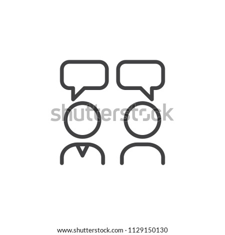 Interview outline icon. linear style sign for mobile concept and web design. People with speech square simple line vector icon. Conversation symbol, logo illustration. Pixel perfect vector graphics
