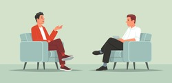 Interview with a famous person. Television or internet broadcast where a journalist talks to a celebrity. Vector illustration in flat style