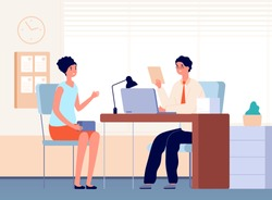 Interview with boss. Job occupation, female communication in office with businessman or hr manager. Recruitment employee vector illustration