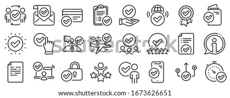 Interviewed, accepted document, right choice. Approve line icons. Quality check, protection, checklist icons. Guarantee document, accepted card, approve verification. Flight confirmed. Vector