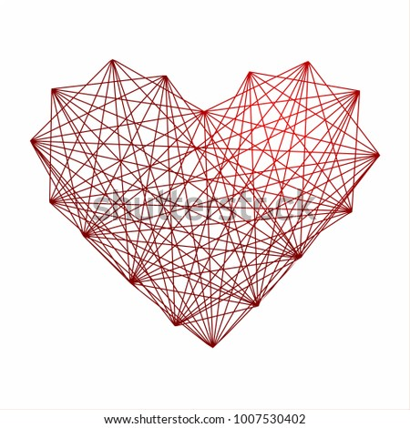 interwoven red heart tangled web