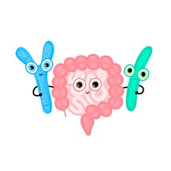 Intestines hugging with probiotics. Digestive tract. Large and small intestine. Digestion. Bifidobacterium and lactobacillus. Gastroenterology. Cute characters. Lactic acid bacterium. Vector, eps10