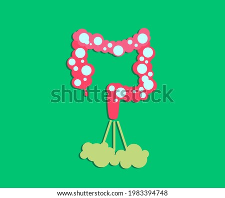 Intestines on a green background. Bloating. Vector illustration. Stockfoto ©