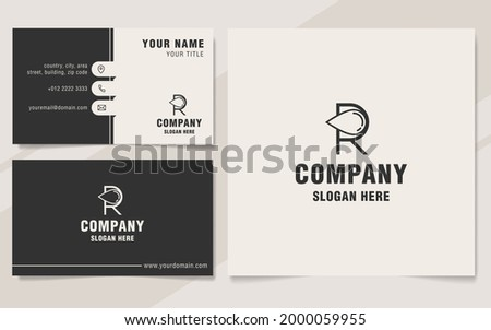 Intial R with drop logo template on monogram style Photo stock ©