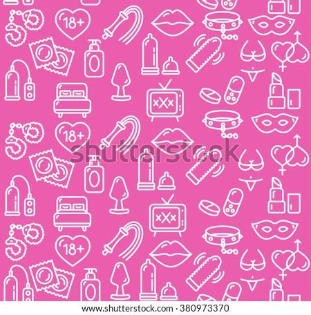 Intim or Sex Shop Background on Pink. Vector illustration