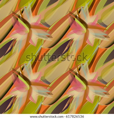 Intricate abstract seamless pattern with geometrical flowers and leaves. Digital artwork with watercolor brush strokes imitation. Green, olive, brown, orange autumn colors, halftones.