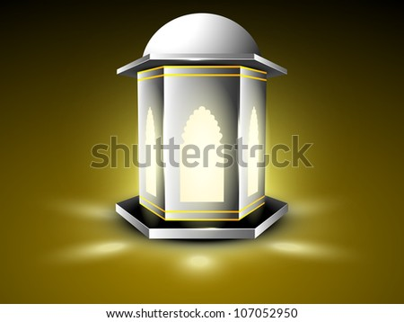 Intricate arabic lamp with lights on shiny background. EPS 10.