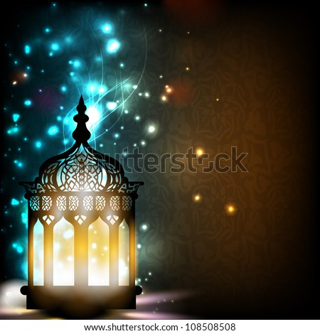 Intricate Arabic lamp with lights on shiny background EPS 10.