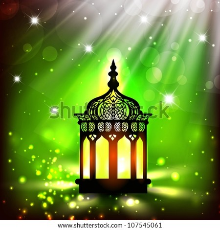 Intricate Arabic lamp with lights on shiny green background. EPS 10.
