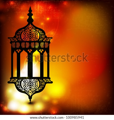 Intricate arabic lamp with lights on the wave and grungy background for Ramadan Kareem and other events. EPS 10. - stock vector